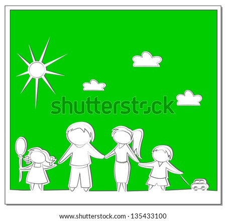 Happy family green paper vector background - stock vector