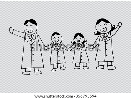 Happy family. Hand drawing illustration