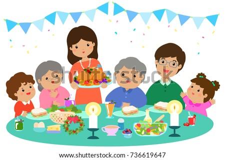 Kids Eating Dinner Clipart