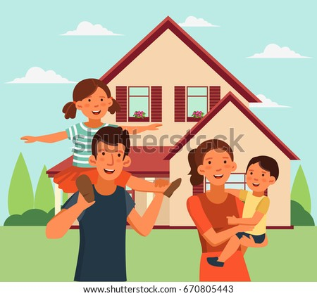 Happy family having fun. Smiling mom holding her baby boy in her arms. Cute girl sits on the shoulders of his father. Happy family vector concept. Summer landscape background