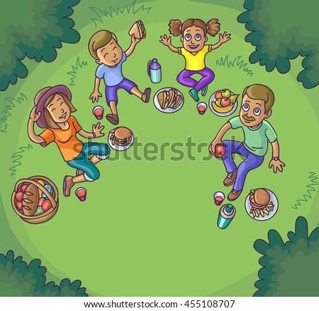 Happy family having picnic outdoors. Father, mother, son and daughter are sitting on green grass, eating and having fun. Vector Illustration.