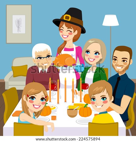 Happy family having thanksgiving dinner together with mom serving traditional roasted turkey - stock vector