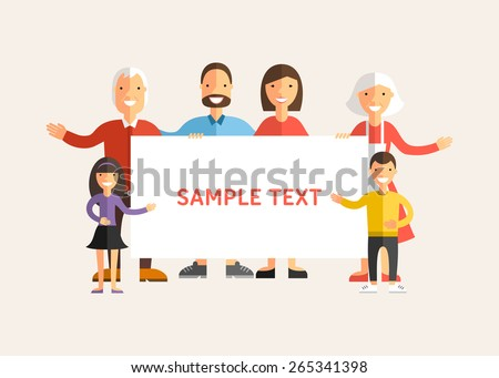 Happy Family Holding a Banner. Flat Design Vector Illustration - stock vector