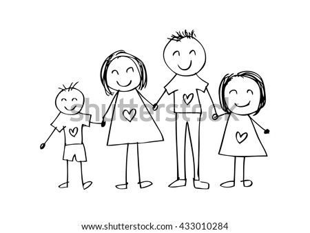 Happy Family Smiling Together Father Children Stock Vector 63346867 - Shutterstock