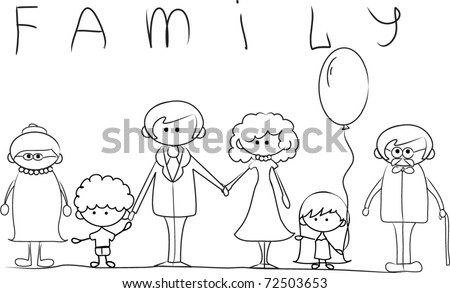 Happy Family Holding Hands Hand Drawing Stock Vector 72503653 - Shutterstock