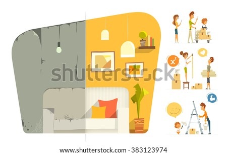 Happy family home house flat  apartment room repair. Before and after. Vector color illustration. Isolated on white background. - stock vector