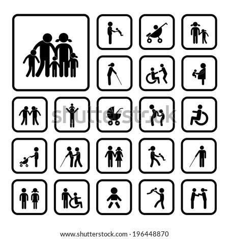 happy family icon on white  background  - stock vector