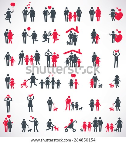 Happy family icon set,people design,red version,clean vector  - stock vector