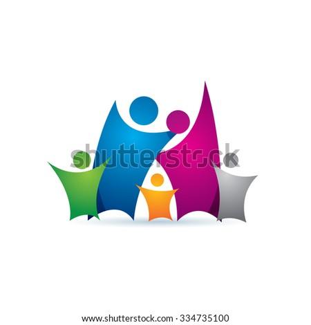 Happy Family Icon Vector Logo Template - stock vector