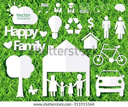 happy family ideas concept with creative design paper cut on green grass texture background, Vector illustration decorative layout template - stock vector