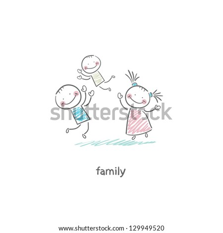 Happy family. Illustration. - stock vector