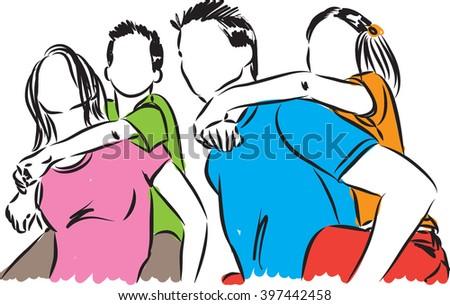 HAPPY FAMILY ILLUSTRATION - stock vector