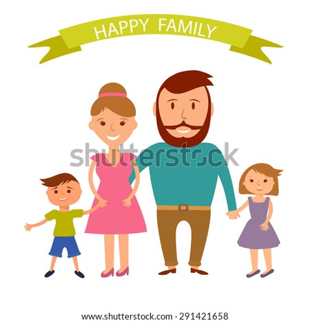 Happy family illustration. Father, mother, son and daugther portrait with banner. - stock vector