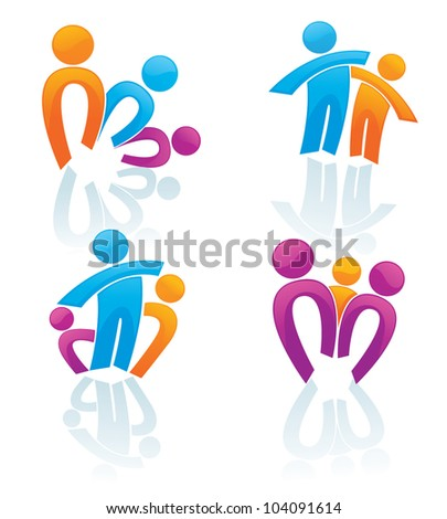 happy family in bright color, vector concept collection - stock vector
