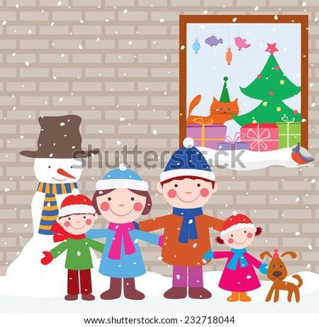 happy family in Christmas eve - stock vector