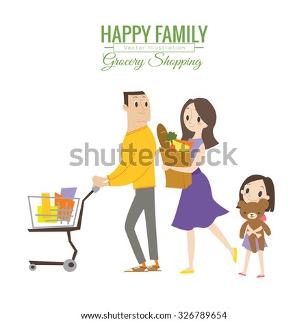 happy family in grocery store with shopping cart vector cartoon illustration - stock vector