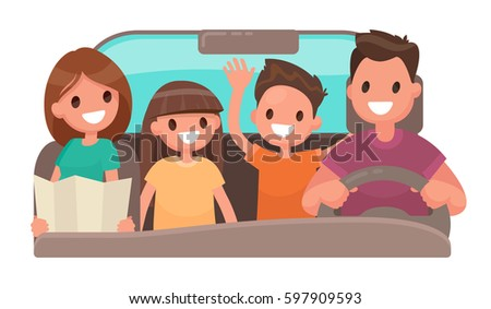Happy family in the car. Merry travel. Vector illustration in a flat style