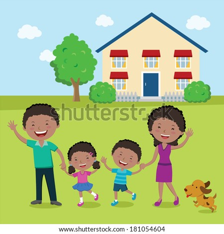 Happy family in their yard. Vector illustration of a cheerful family standing in front of their house. - stock vector