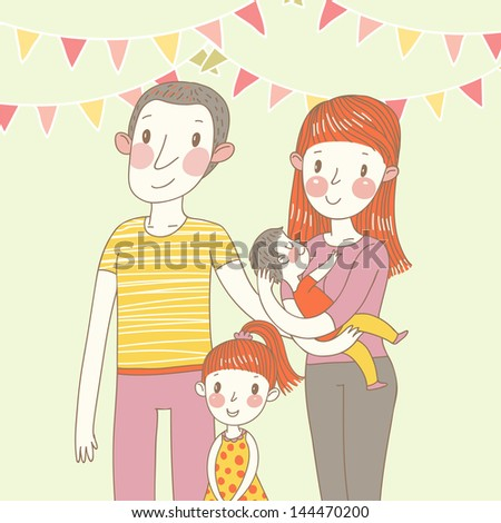 Happy family in vector. Cartoon father, mother, daughter and son - stock vector