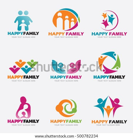 Happy Family logo vector illustration set design