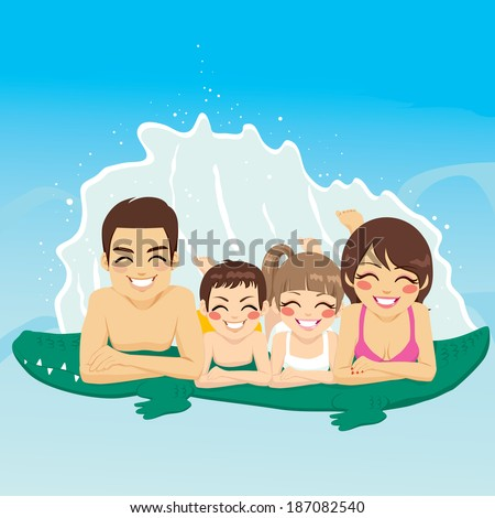 Happy family lying down on crocodile tube at swimming pool together smiling - stock vector