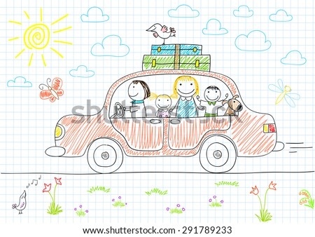 Happy family - mom, dad and two children in car. Sketch on notebook page