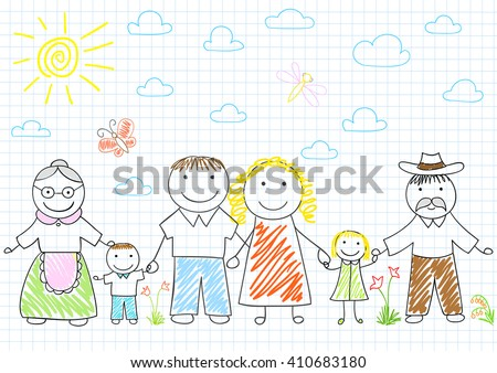 Happy family - mother, father, son, daughter, grandmother, grandfather. Vector sketch on notebook page on doodle style - stock vector