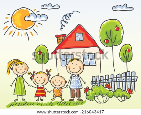 happy family near their house - Free Drawing For Kids