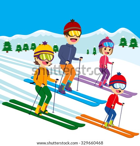 Happy family of four members skiing on snow mountain - stock vector