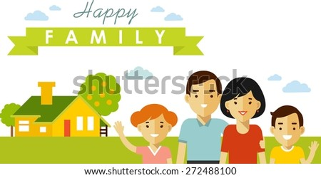 Happy family of four people on family house background in flat style - stock vector