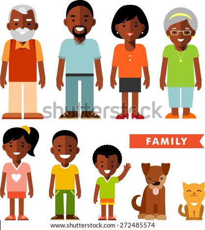 Happy family of seven african american ethnic people and two pets isolated on white background in flat style - stock vector