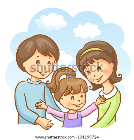 Happy family on the sky background. Mother, father and daughter - stock vector