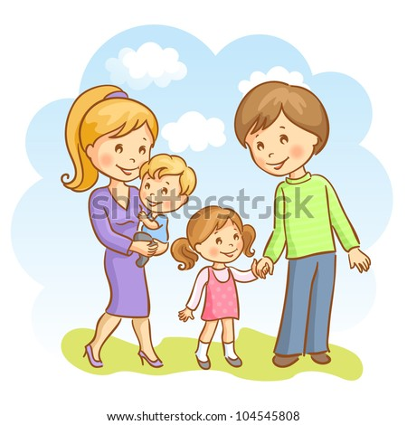 Happy family on the sky background. Mother, father, son and daughter - stock vector