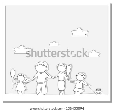 Happy family paper vector background - stock vector