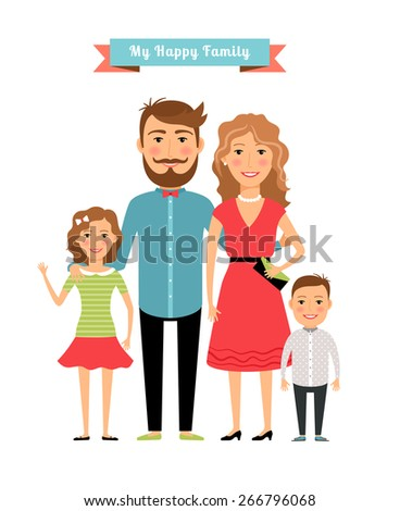 Happy family. Parents and kids. Daughter and father, mother and girl and son. Vector illustration - stock vector