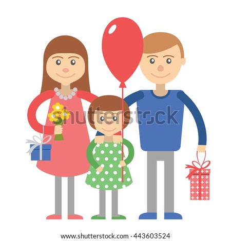 Happy family parents with child. Family vector illustration flat style people mother father and daughter on holiday shopping with balloon and gifts boxes isolated on white background. - stock vector