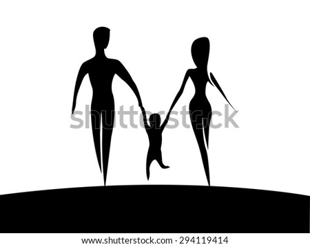 Happy family. Parents with child silhouette on white background. vector illustration - stock vector