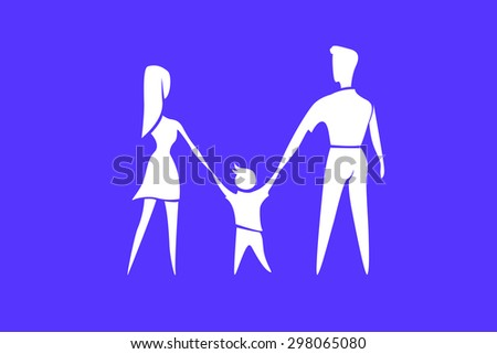 Happy family. Parents with child white silhouette on blue background. vector illustration - stock vector