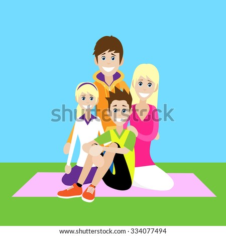 Happy Family, Parents With Children Love Smile Sitting Picnic Flat Vector Illustration - stock vector