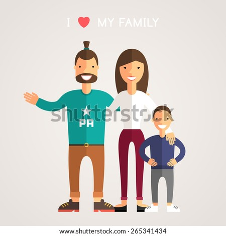 Happy Family Parents with Son. Father, mother, son. I Love My Family - stock vector
