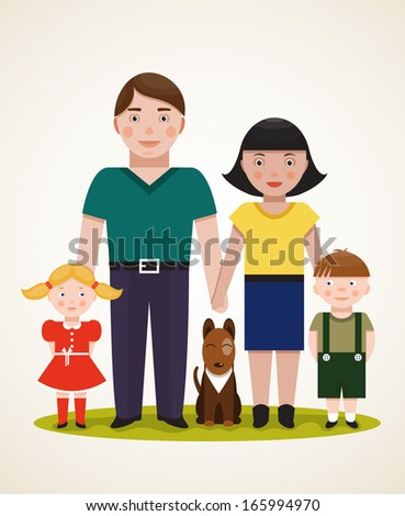 Happy Family Parents with Two Children and Dog. Father, mother, son, daughter. Vector EPS8 illustration. - stock vector