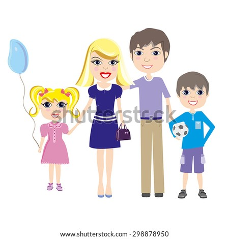 Happy family. Parents with two children boy and girl. Cartoon vector colorful illustration in flat design isolated on white background. - stock vector