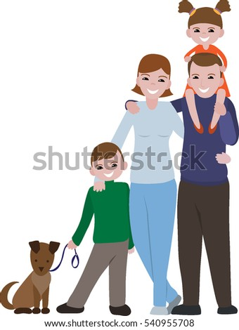 Happy family portrait. Family with a cheerful smile. Vector illustration. Father, mother , daughter, son , dog.