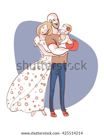 Happy family portrait. Father, mother and daughter. A woman in a long dress hugging a man with a child on the hand. Gentle and loving family. The center for family planning - stock vector