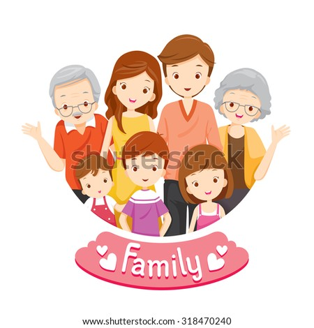 Happy Family Portrait, Relationship, Togetherness, Vacations, Holiday, Lifestyle - stock vector