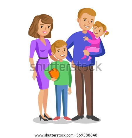 Happy family portrait, smiling parents and kids. Concept happy family, family love. Vector illustration isolated on white - stock vector