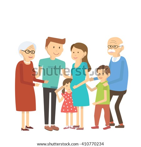 Happy family portrait. Vector illustration. Flat style characters. Happy family grandma, grandpa, son, daughter, mom, dad, grandson, granddaughter. Big family portrait. Family reunion. Family fun. - stock vector