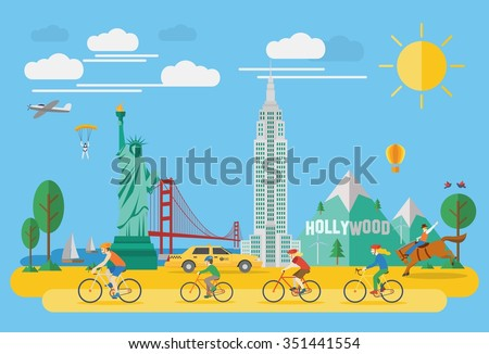 Happy family riding bicycle in America. Flat design style. - stock vector
