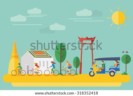Happy family riding bicycles in Thailand. Flat Illustration, all objects are grouped. - stock vector