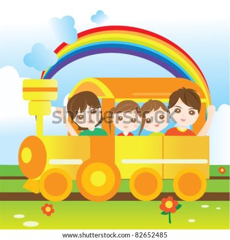 Happy family riding train - stock vector